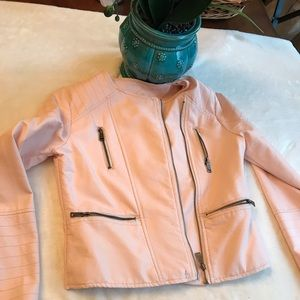 Girl's Size 14/16 Soft pink faux leather jacket